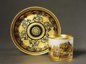 Cup with View of Castle and Blue and Gold Plate with Leaf Motifs, Ceramic, 1790