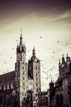 View at St. Mary's Gothic Church, Famous Landmark in Krakow, Poland. by Curioso Travel Photography