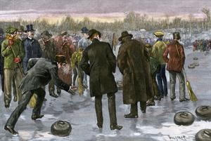 Curling Match on a Frozen Lake in Canada, 1880s