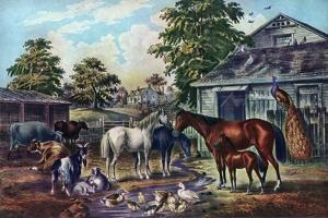 American Farm Yard in the Morning, 1857 by Currier & Ives
