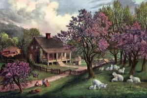 American Homestead in Spring, 1869 by Currier & Ives
