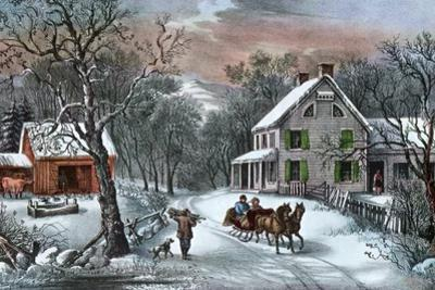 American Homestead in Winter, 1868 by Currier & Ives