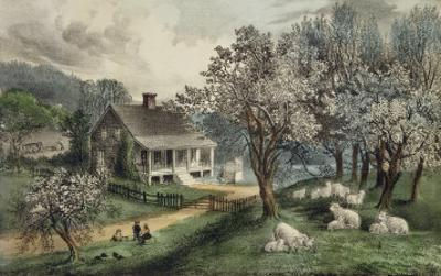 American Homestead Spring by Currier & Ives