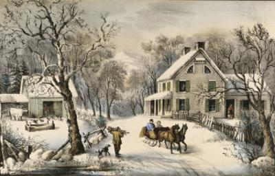 American Homestead Winter by Currier & Ives