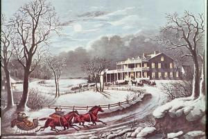 American Winter Evening Scene by Currier & Ives