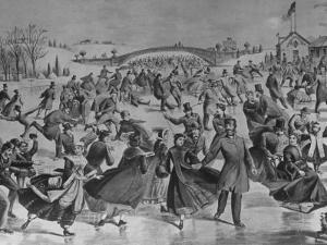 Assembly of Ice Skaters on Lake in Central Park in Winter by Currier & Ives