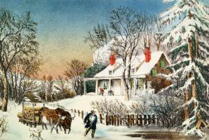 Bringing Home the Logs, Winter Landscape by Currier & Ives