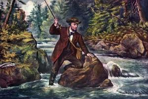 Brook Trout Fishing, 1862 by Currier & Ives