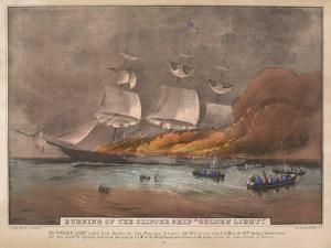 Burning of the Clipper Ship, 'Golden Light' by Currier & Ives
