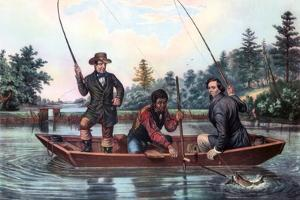 Catching a Trout, 1854 by Currier & Ives