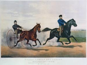 Flora Temple and Lancet Racing on the Centreville Course, 1856 by Currier & Ives