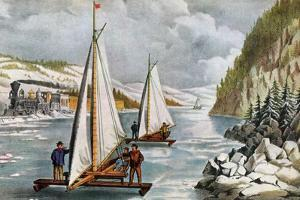 Ice Boat Race on the Hudson River, 19th Century by Currier & Ives