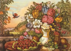 Landscape, Fruit and Flowers by Currier & Ives