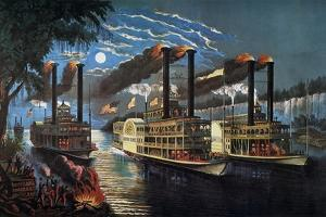 Mississippi River Race by Currier & Ives