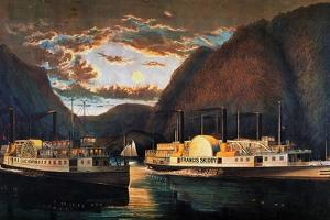 Night on the Hudson, 1864 by Currier & Ives