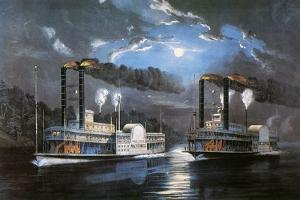 Race on Mississippi, 1860 by Currier & Ives