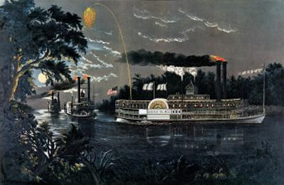 Rl 27835 Rounding a Bend on the Mississippi Steamboat Queen of the West by Currier & Ives