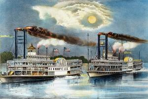 Steamboat Race, 1870 by Currier & Ives