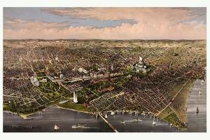 The City of Washington Birds Eye View from the Potomac, Looking North, Circa 1880, USA, America by Currier & Ives