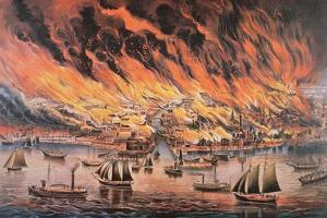 The Great Fire of Chicago, 1871 by Currier & Ives