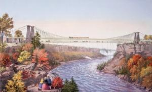 The Niagara Falls Suspension Bridge, 1856 by Currier & Ives