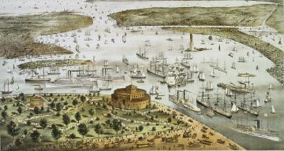 The Port of New York by Currier & Ives