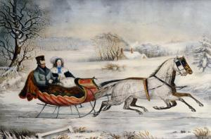 The Road, Winter, 1853 by Currier & Ives