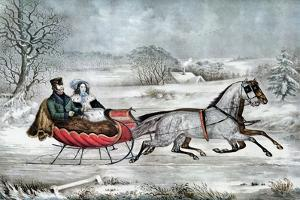 The Road - Winter (Currier and His 2nd Wife, Laura Ormsbee, 1843) by Currier & Ives