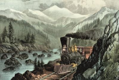 The Route to California. Truckee River, Sierra Nevada. Central Pacific Railway, 1871 by Currier & Ives