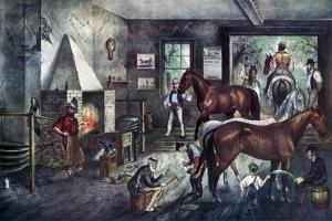 Trotting Cracks at the Forge, 1869 by Currier & Ives