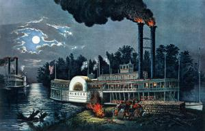 Wooding Up' on the Mississippi by Currier & Ives