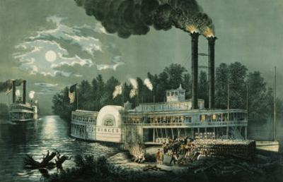 Wooding-up on the Mississippi by Currier & Ives