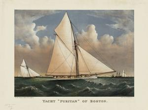 """Yacht """"Puritan"""" of Boston by Currier & Ives"""