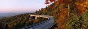 Curved Road over Mountains, Linn Cove Viaduct, Blue Ridge Parkway, North Carolina, USA
