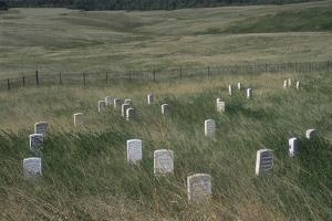 Custer Hill Markers Where 7th Calvary Bodies Were Found after Battle of Little Bighorn, Montana