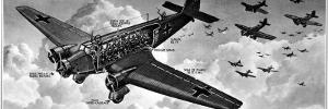 Cutaway Diagram of a Junkers Ju-52 Transport Aircraft, with a 'Cargo' of 18 Troops, 1940