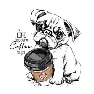 Cute Pug Puppy with a Plastic Cup of Coffee. Life Happens Coffee Helps - Lettering Quote. Humor Car