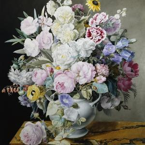 A Still Life of Flowers on a Marble Ledge by Cyane Lecoq Boisbaudran