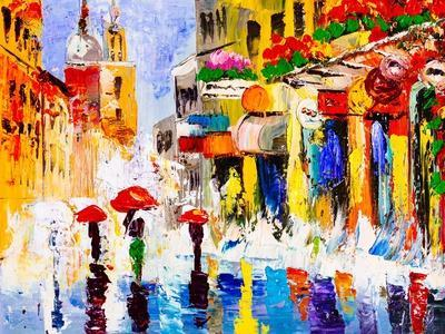 Oil Painting - Colorful Rainy Night