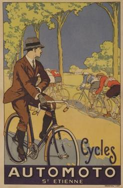 Cycles Automoto St Etienne French Advertising Poster