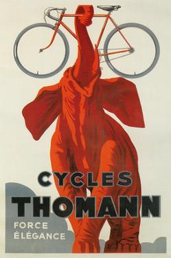 Cycles Thomann, Red Elephant Holding Bike