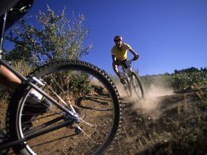 Cyclist in a Mountain Biking Race, Denver, Colorado, USA