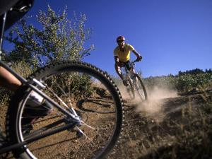 Cyclist in a Mountain Biking Race, Denver, Colorado, USA