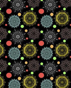Snowflakes & Polka Dots Black by Cyndi Lou