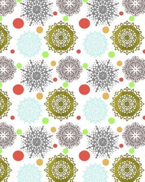 Snowflakes & Polka Dots White by Cyndi Lou