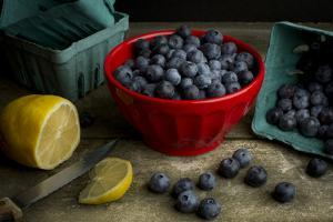 Bowls of Fresh Blueberries on a Rustic Farm Table by Cynthia Classen