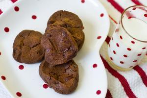 Dark Chocolate Cookies on a Polka Dot Plate with Fresh Milk by Cynthia Classen