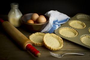 Still Life Setting of Freshly Baked Tart Shells and a Few Ingredients by Cynthia Classen
