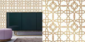 Cynthia Rowley's Chainlinx Gold Self-Adhesive Wallpaper by Cynthia Rowley