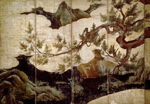 Cypress by Kano Eitoku, Muromanchi Period